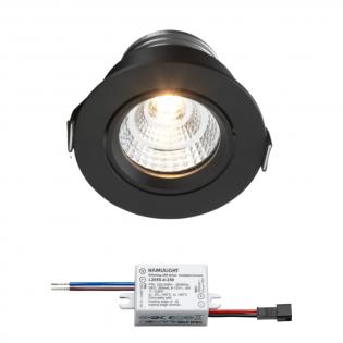 Sharp LED inbouwspot Granada | zwart | warmwit | 4 watt | dimbaar | kantelbaar L2250