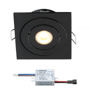 Creelux LED inbouwspot | zwart | vierkant | warmwit | 3 watt | dimbaar | kantelbaar L2171